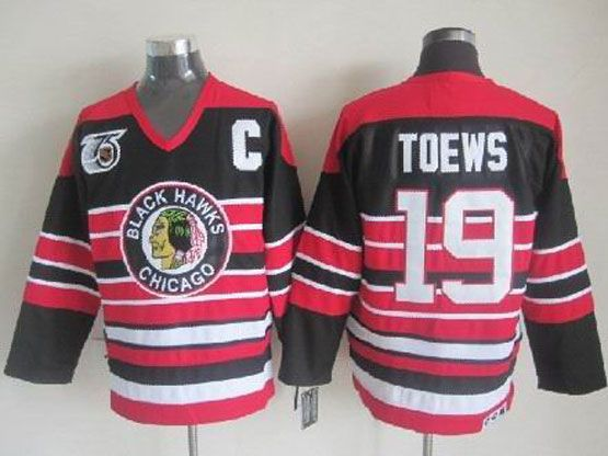 Mens nhl chicago blackhawks #19 toews black&red 75th c patch throwbacks Jersey