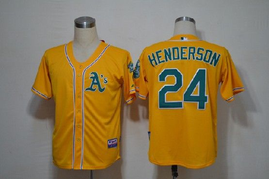 Mens mlb oakland athletics #24 henderson yellow Jersey