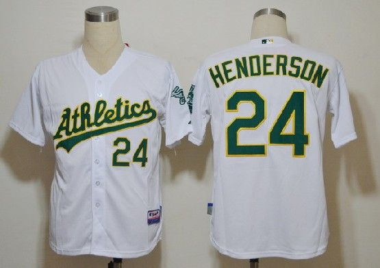 Mens mlb oakland athletics #24 henderson white Jersey