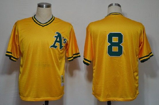 Mens mlb oakland athletics #8 (no name) yellow throwbacks Jersey