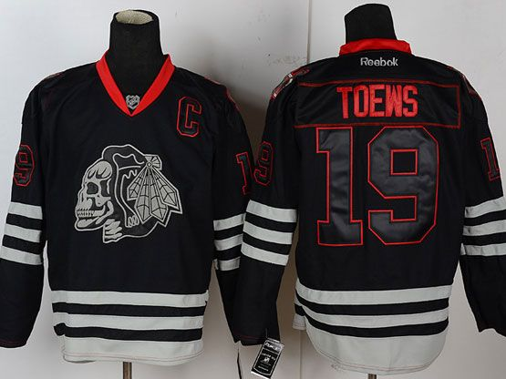Mens reebok nhl chicago blackhawks #19 toews black ice skeleton c patch Jersey