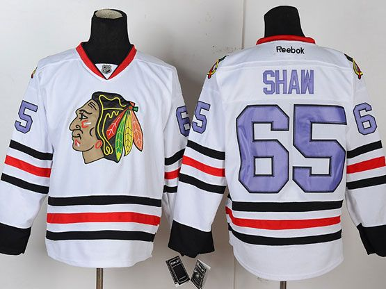 Mens reebok nhl chicago blackhawks #65 shaw white (purple number) Jersey