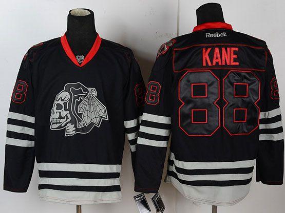 Mens reebok nhl chicago blackhawks #88 kane black ice skeleton Jersey
