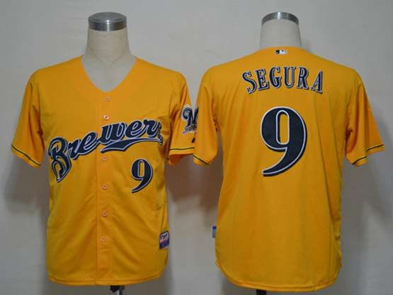 Mens mlb milwaukee brewers #9 segura yellow Jersey