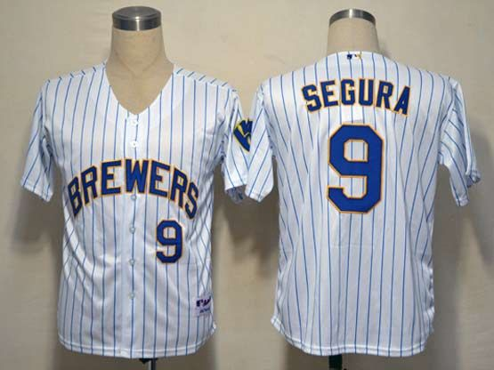 Mens mlb milwaukee brewers #9 segura white&blue stripe Jersey