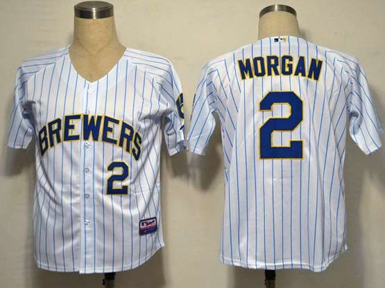 Mens mlb milwaukee brewers #2 morgan white&blue stripe Jersey