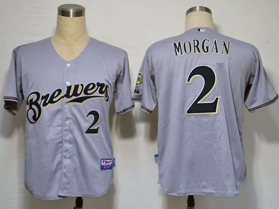 Mens Mlb Milwaukee Brewers #2 Morgan Gray Jersey