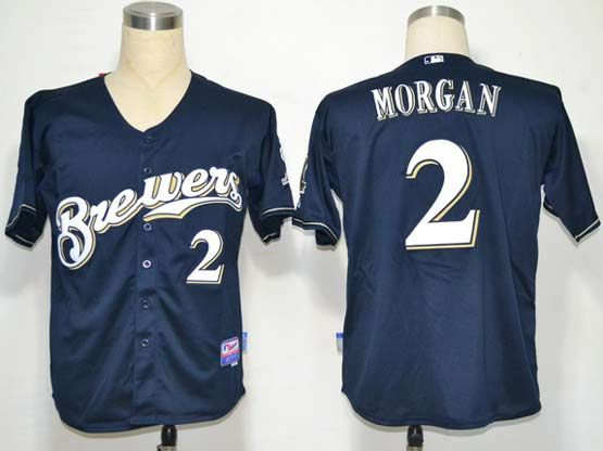 Mens mlb milwaukee brewers #2 morgan dark blue Jersey