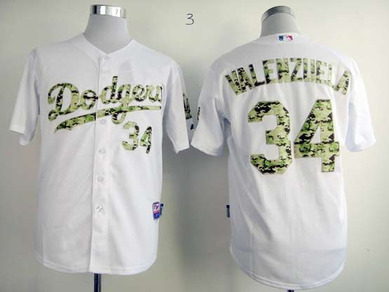 Mens mlb los angeles dodgers #34 valenzuela white camo number Jersey