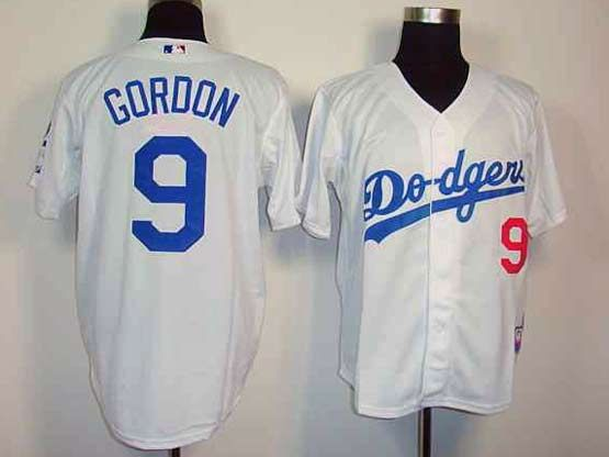 Mens mlb los angeles dodgers #9 gordon white Jersey