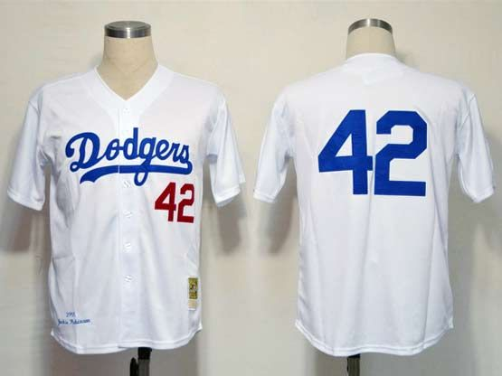Mens mlb los angeles dodgers #42 (no name) throwbacks white Jersey