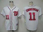 Mens mlb washington nationals #11 zimmerman white (cool base) Jersey