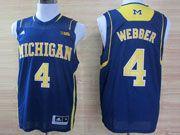 Mens Ncaa Nba Michigan Wolverines #4 Webber Blue (big 10th) Jersey