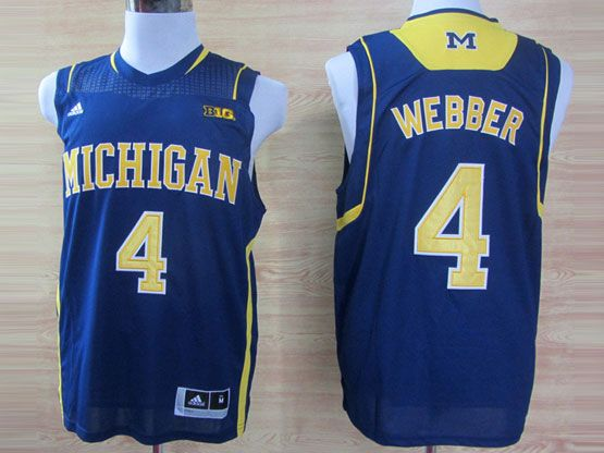 Mens Ncaa Nba Michigan Wolverines #4 Webber Blue (big 10th) Jersey