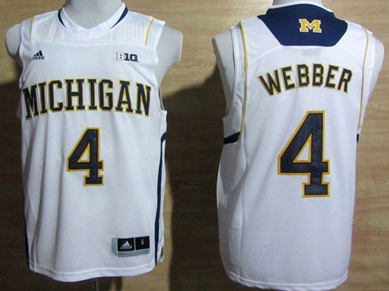 Mens Ncaa Nba Michigan Wolverines #4 Webber White (big 10th) Jersey