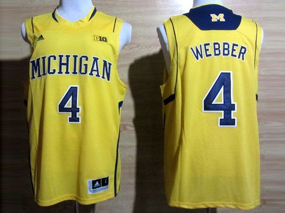 Mens Ncaa Nba Michigan Wolverines #4 Webber Yellow (big 10th) Jersey
