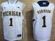 Mens Ncaa Nba Michigan Wolverines #1 Robinson White (big 10th) Jersey
