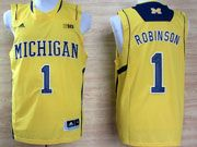 Mens Ncaa Nba Michigan Wolverines #1 Robinson Yellow (big 10th) Jersey