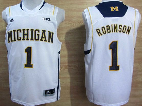 Mens Ncaa Nba Michigan Wolverines #1 Robinson White (big 10th) Jersey