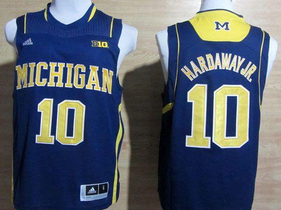 Mens Ncaa Nba Michigan Wolverines #10 Hardaway Jr Blue (big 10th) Jersey