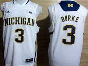 Mens Ncaa Nba Michigan Wolverines #3 Burke White (big 10th) Jersey
