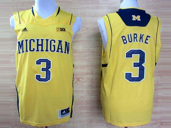 Mens Ncaa Nba Michigan Wolverines #3 Burke Yellow (big 10th) Jersey