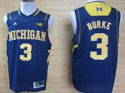 Mens Ncaa Nba Michigan Wolverines #3 Burke Blue (big 10th) Jersey