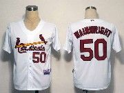 Mens Mlb St.louis Cardinals #50 Adam Wainwright White&red Number Jersey
