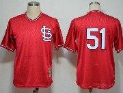 Mens mlb st.louis cardinals #51 (no name) sl red throwbacks Jersey