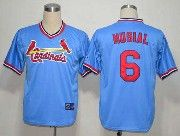 Mens mlb st.louis cardinals #6 musial blue cooperstown throwbacks Jersey