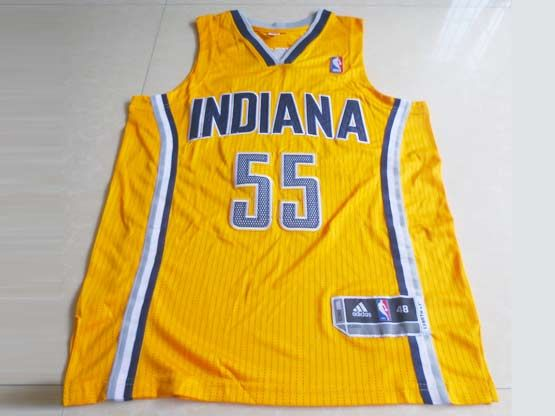 Mens Nba Indiana Pacers #55 Hibbert Yellow Revolution 30 Mesh Jersey