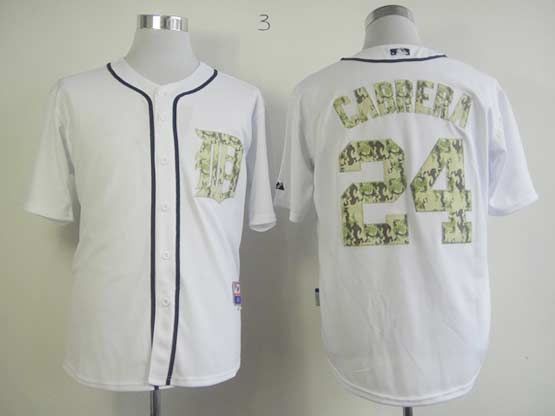 Mens mlb detroit tigers #24 cabrera white (camo number) Jersey