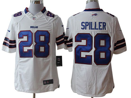 Mens Nfl Buffalo Bills #28 Spiller White Game Jersey