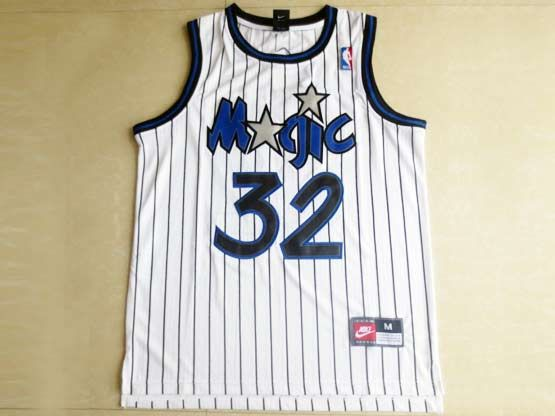 Mens Nba Orlando Magic #32 O'neal White Stripe Swingman Mesh Jersey