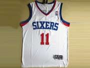 Mens Nba Philadelphia 76ers #11 Holiday White&red Number Revolution 30 Mesh Jersey