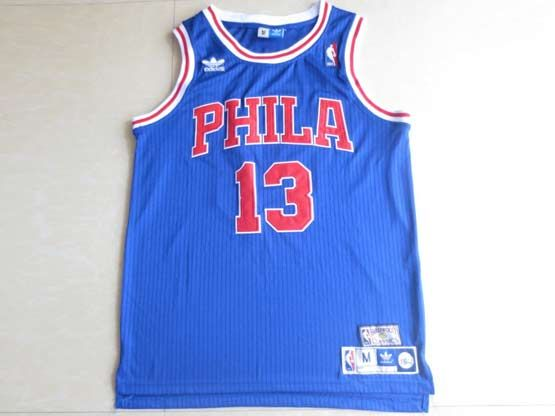 Mens Nba Philadelphia 76ers #13 Chamberlain Blue (red Number) Hardwood Throwback Jersesy