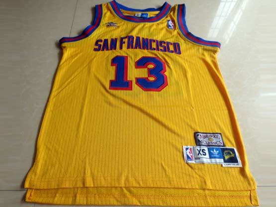 Mens Nba Philadelphia Sixers #13 Chamberlain Yellow Hardwood Throwback Jersesy