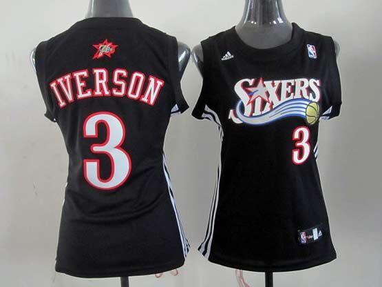 Women  Nba Philadelphia 76ers #3 Allen Iverson Black Jersey (p)