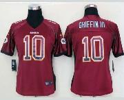 Women  Nfl Washington Redskins #10 Griffin Iii Drift Fashion Red Elite Jersey