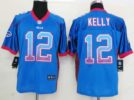 mens nfl buffalo bills #12 jim kelly light blue drift fashion elite jersey