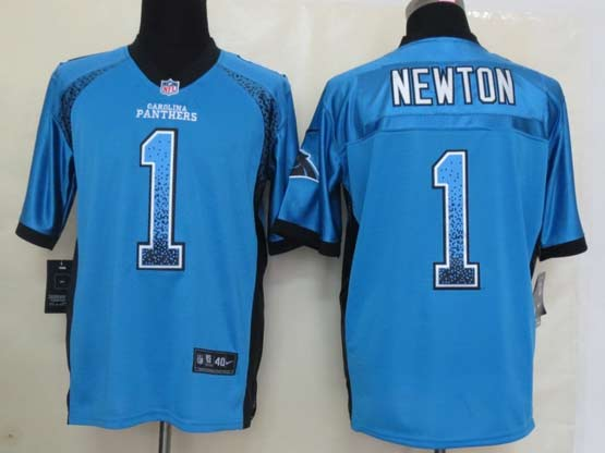 mens nfl Carolina Panthers #1 Cam Newton light blue drift fashion elite jersey