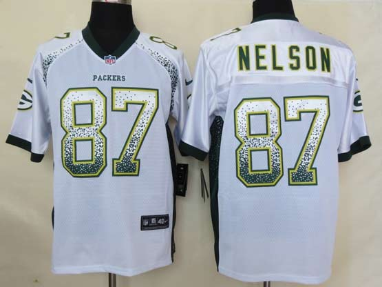 Mens Nfl Green Bay Packers #87 Nelson Drift Fashion White Elite Jersey