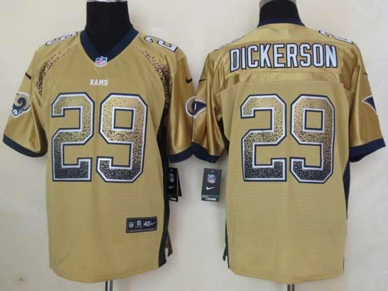Mens Nfl St. Louis Rams #29 Dickerson Drift Fashion Gold Elite Jersey