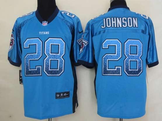 Mens Nfl Tennessee Titans #28 Johnson Drift Fashion Blue Elite Jersey