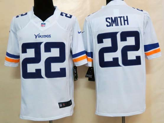 Mens Nfl Minnesota Vikings #22 Smith (2013 New) White Limited Jersey