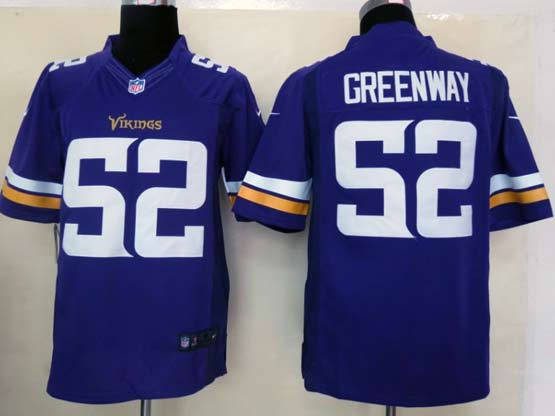 Mens Nfl Minnesota Vikings #52 Greenway (2013 New) Purple Limited Jersey