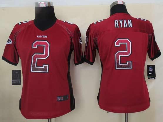 Women  Nfl Atlanta Falcons #2 Ryan Red Drift Fashion Elite Jersey