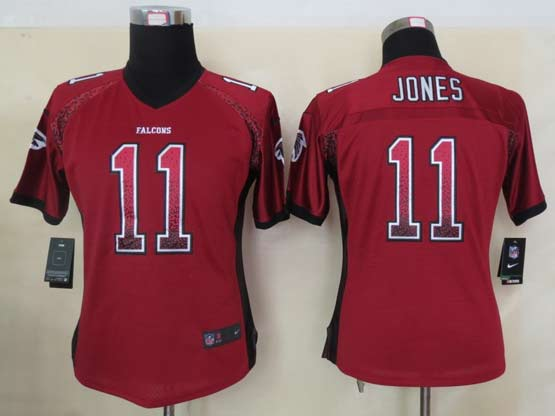 Women  Nfl Atlanta Falcons #11 Jones Red Drift Fashion Elite Jersey