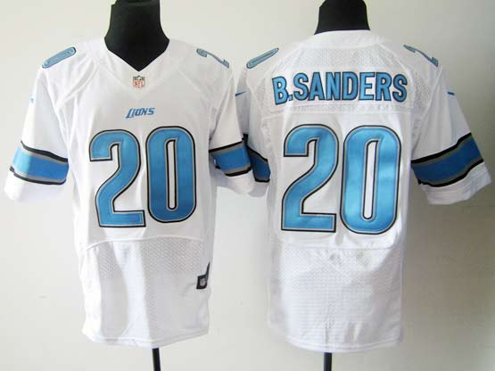 mens nfl Detroit Lions #20 Barry Sanders white elite jersey