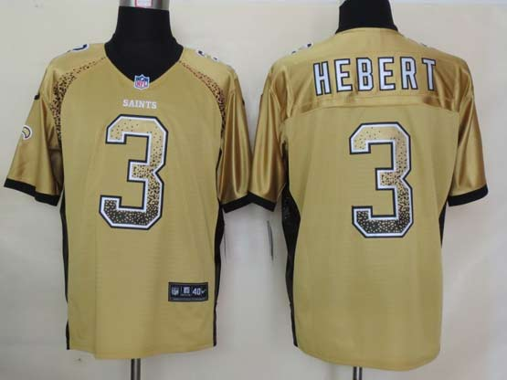 Mens Nfl New Orleans Saints #3 Hebert Drift Fashion Gold Elite Jersey